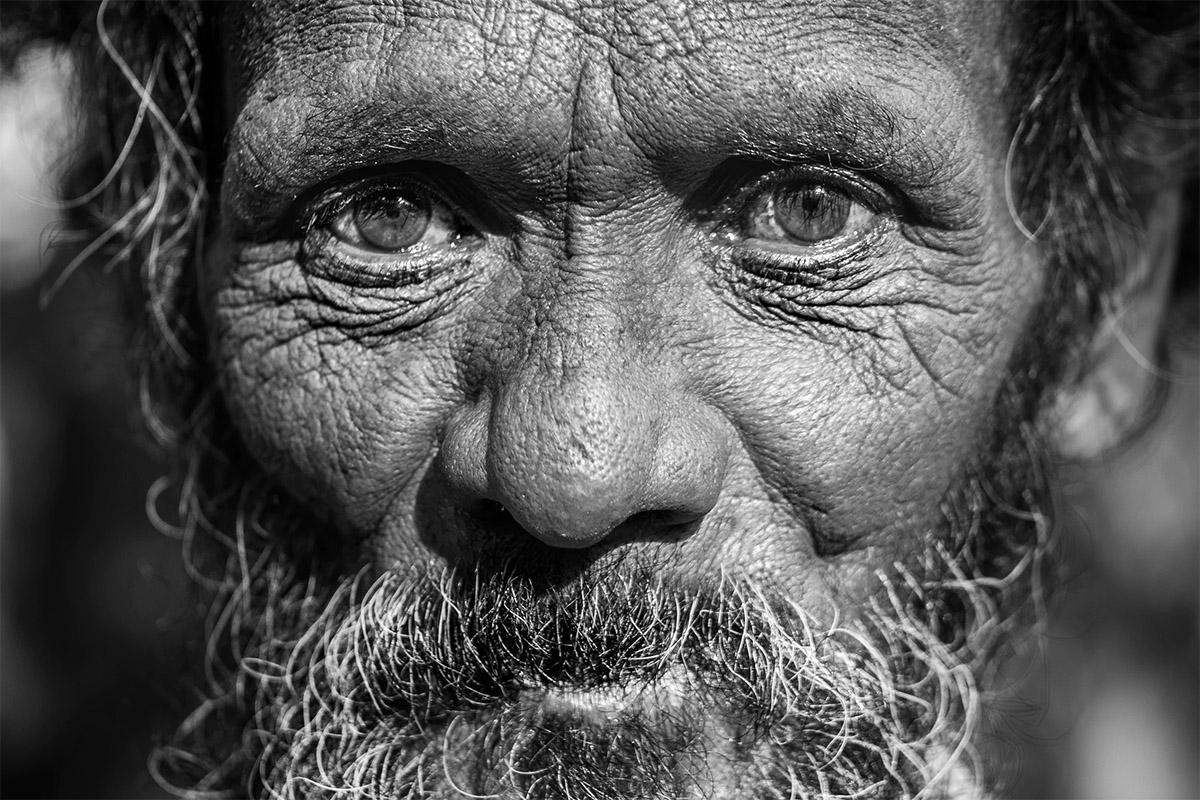 Gezicht van een man op leeftijd