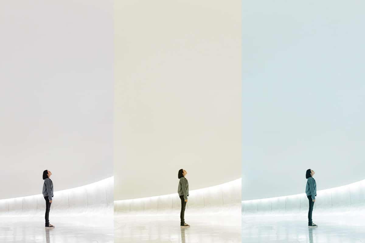 Drie dezelfde foto's met drie verschillende witbalans